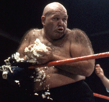 george-the-animal-steele-threw-out-the-opening-pitch-at-the-rochester-red-wings-baseball-game